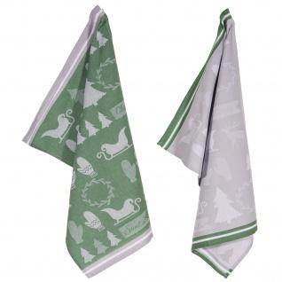 PAD Geschirrtuch Wrapping 2-er Packung 50 x 70 cm grün 100% Baumwolle