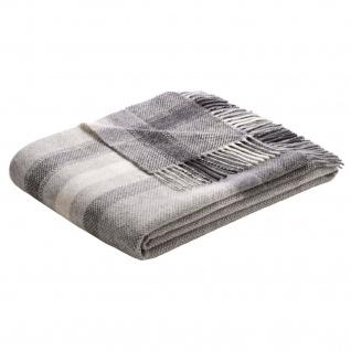 Biederlack Plaid Karorahmen grau 130 x 170 cm Wolle-Kaschmir Fransen - Vorschau 2