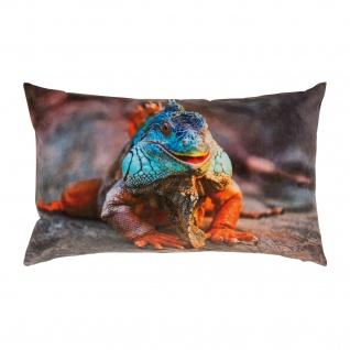 pad Kissenhülle Guana 35 x 60 cm orange aus 100% Polyester-Velour Digitaldruck