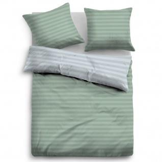 Tom Tailor Flanell Bettwäsche Streifen 9937-820 grün100% Baumwolle wärmend