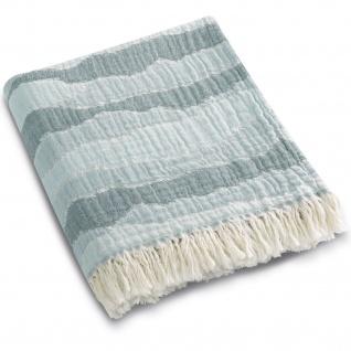 Biederlack Wohndecke Plaid Ocean 130 x 180 cm aus 100% Baumwolle Wellen-Dessin