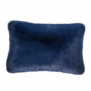 Pad Kissen Kunst-Fell CHAMPAGNE 30 x 48 cm blue Fellimitat modern weich mit RV