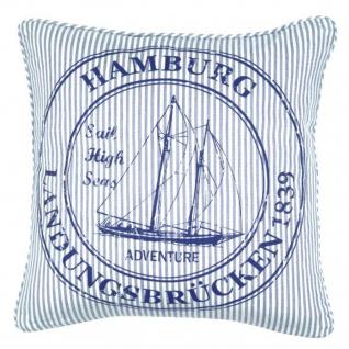 Kissenhülle - Kissenbezug Ocean Hamburg - blau weiss - ca 45x45 cm - ohne Füllung
