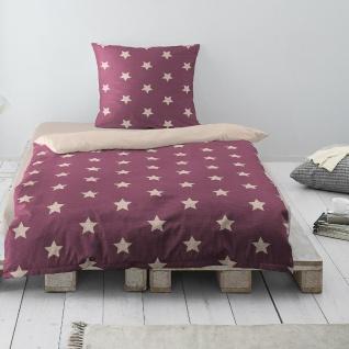 Irisette Biber Wendebettwäsche Dublin Sterne rot 8025-70 aus 100% Baumwolle
