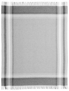 Biederlack Plaid Karorahmen grau 130 x 170 cm Wolle-Kaschmir Fransen