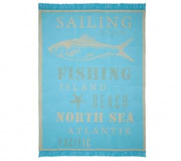 pad Kuscheldecke Sea turquoise 150 x 200 cm Baumwollmischung mit Fransen