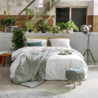 WALRA Natural Mix Leinen Bettwäsche Weiß uni mit RV Sommerbettwäsche