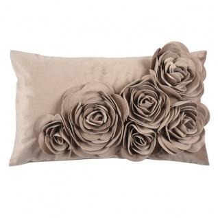 PAD Kissenhülle Floral 30 x 50 cm taupe mit Blumen-Aplikation plus Kissenfüllung