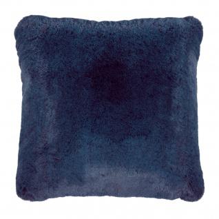 Pad Kissen Kunst-Fell CHAMPAGNE 48 x 48 cm blue Fellimitat modern weich mit RV