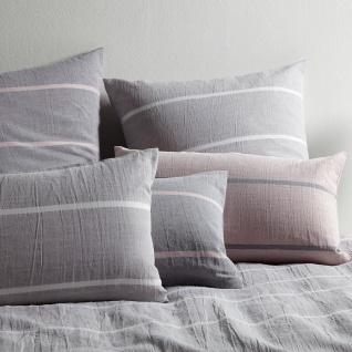 elegante Halbleinen Bettwäsche Relax 7047-09 grau-rose gestreift pflegeleicht - Vorschau 2