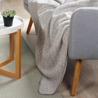 Biederlack Wohndecke Weave 150 x 200 cm Baumwollmischgewebe grau Gitter-Muster