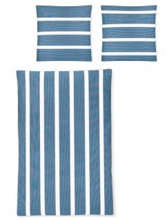 Irisette Mako-Satin Bettwäsche EOS 8763-20 blau gestreift 100% Baumwolle