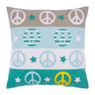 Pad Kissenhülle PEACE 45 x 45 aqua gewebt und bestickt mit RV Baumwolle