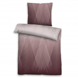 Biberna Baumwoll-Satin Bettwäsche 636080-546 burgund 100% Baumwolle geometrisch