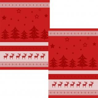 Ross Geschirrtücher 2-er Set 50 x 70 cm Weihnachtsmotive rot Baumwolle