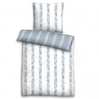 Biberna Biber Bettwäsche Trendline 8579-220 blau 100% Baumwolle Streifen