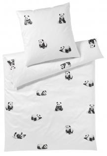 elegante Comfort-Satin Bettwäsche Panda Bär 2328-00 weiß 100% Baumwolle