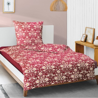Irisette Mako-Satin Bettwäsche EOS 8138-60 rot Ranken und Blumen 100% Baumwolle