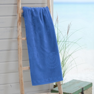 Seahorse Shells - Strandlaken brilliant blau 100 x 200 cm 100% Baumwolle extra groß