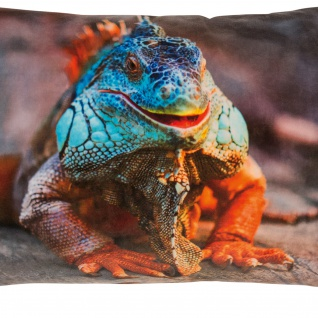 pad Kissenhülle Guana 35 x 60 cm orange aus 100% Polyester-Velour Digitaldruck - Vorschau 2