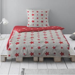 Irisette Biber Bettwäsche Dublin 8131-60 rot Sterne weich wärmend 135 x 200 cm
