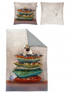 Irisette Mako-Satin Bettwäsche Juwel-K mit Motiv Mops 100% Baumwolle Wendeoptik