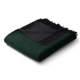Biederlack Plaid Warm Shades grün-anthrazit 130 x 170 cm Wolle-Kaschmir Fransen