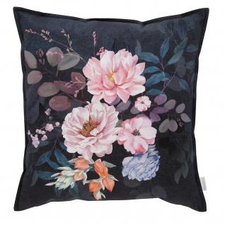 Estella Home Mako Satin Deko-Kissen Flower Dream 50 x 50 cm 100% Baumwolle