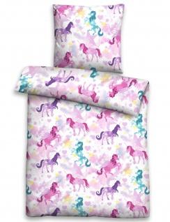 Biberna Linon Bettwäsche 44750-173 EINHORN pink 100% Baumwolle