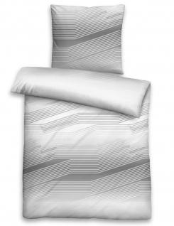 Biberna Feinbiber Bettwäsche Querstreifen 3622-018 silber -grau 100 % Baumwolle