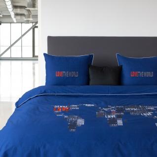 HnL Perkal Bettwäsche Hillary Royalblau mit Stickerei 135 x 200 cm 100% Baumwolle
