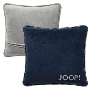 JOOP! Kissen Uni-Doubleface Kissenbezug Marine-Graphit 50 x 50 cm Wendeoptik - Vorschau