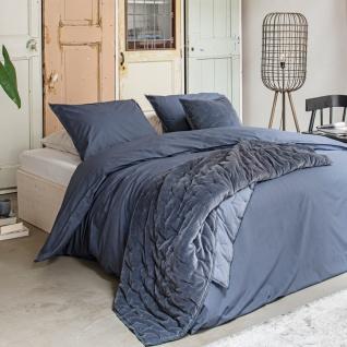 WALRA Bettwäsche Renforcé Soft Structure blau aus 100% Baumwolle Uni klassisch