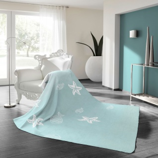 Biederlack Wohndecke Soft Cotton Trend Seaside Starfish 150 x 200 cm aqua- blau - Vorschau 2