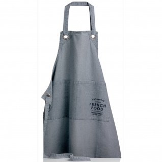 Winkler Kochschürze Cook French Food Stonewassh Stahl-Blau 100% Baumwolle