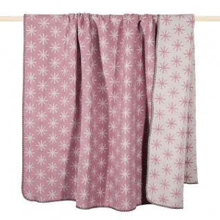 PAD Decke Wohndecke STELLA pink 150 x 200 cm Baumwollmischung Schneeflocken