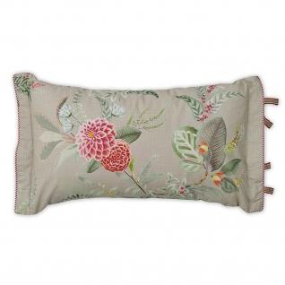 PIP Studio Dekokissen Kissen Zierkissen Floris khaki 35 x 60 cm Blumenmotiv