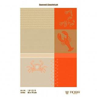 Ross Baumwolle Geschirrtuch 1812-2 Meerestiere orange - beige 50 x 70 cm