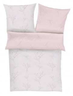 Zeitgeist Bettwäsche 5877 Mako-Satin / 100% Baumwolle/Wendebettwäsche Rosa/Blumenmuster Reißverschluss
