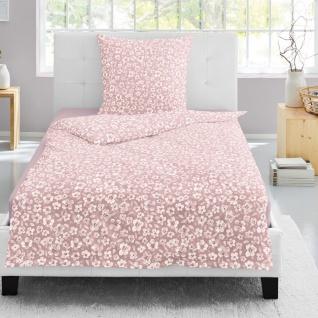 Irisette Biber Bettwäsche Flanell 8116-61 rose aus 100 % Baumwolle geblümt 135 x 200 cm