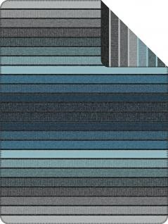 Ibena Wohndecke Jacquard Decke BELMONT anthrazit-petrol 150 x 200 cm gestreift
