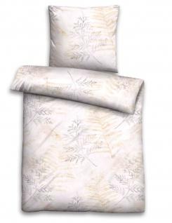 Biberna Jersey Bettwäsche 75844-019 grau-beige florales Muster Farnblätter