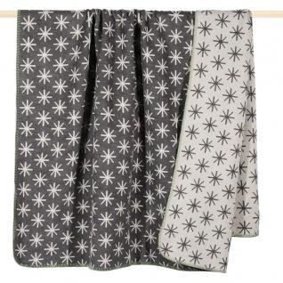 PAD Decke Wohndecke STELLA grey 150 x 200 cm Baumwollmischung Eiskristalle