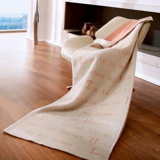 Biederlackborbo Bocasa Exquisite Cotton Decke LOVE LETTER 150x200 cm rosa/beige