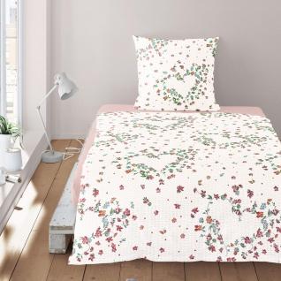 Irisette Seersucker Bettwäsche Calypso 8259-60 rot 100% Baumwolle floral
