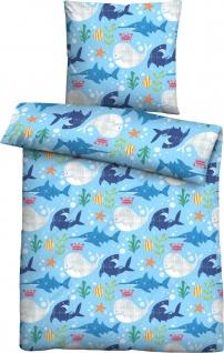 Biberna Linon Bettwäsche Unterwasserwelten 44751-221 blau 100% Baumwolle mit RV