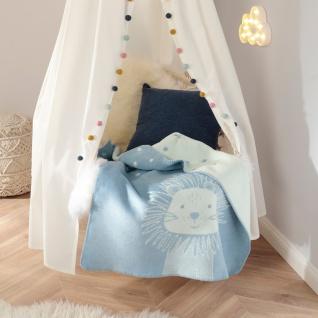 Biederlack Kinder-Kuscheldecke Leo 75 x 100 cm hellblau Baumwollmischung