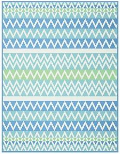 Biederlack Colour Cotton Decke 150x200 zickzack aqua Baumwollmischung