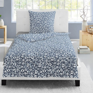 Irisette Biber Bettwäsche Feel blau 8116-20 aus 100 % Baumwolle geblümt