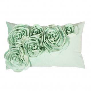 PAD Kissenhülle Floral 30 x 50 cm light mint mit Blumen Applikation